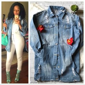Jackets & Blazers - Distressed Faux Pearl Denim Jacket